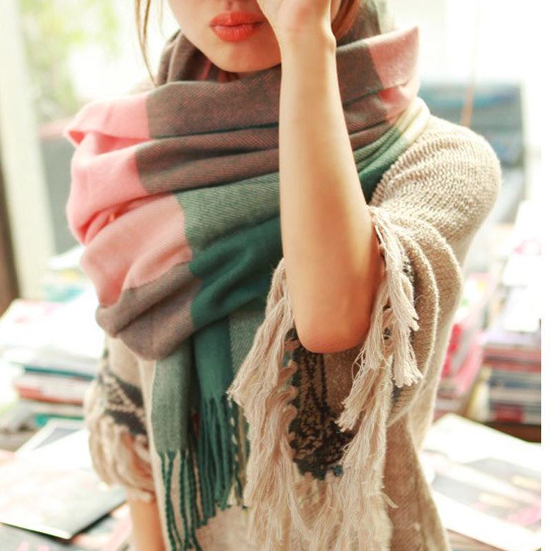 Moda invierno bufanda mujeres españa bufanda Desigual tela escocesa gruesa marca chales y bufandas para mujeres(China (Mainland))