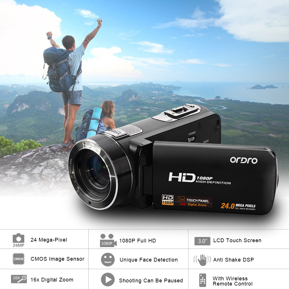 ORDRO HDV-Z8 Video Camera 1080P Full HD LCD Touch Screen Mini Camera DV Camcorder 24MP 16x Digital Zoom Support Face Detection(China (Mainland))