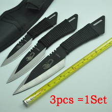 (3pcs in 1Sets) !! Hunting Knives Outdoor Survival Knife 440C Stainless Steel Sheath knife Blade camping knife Free Shipping
