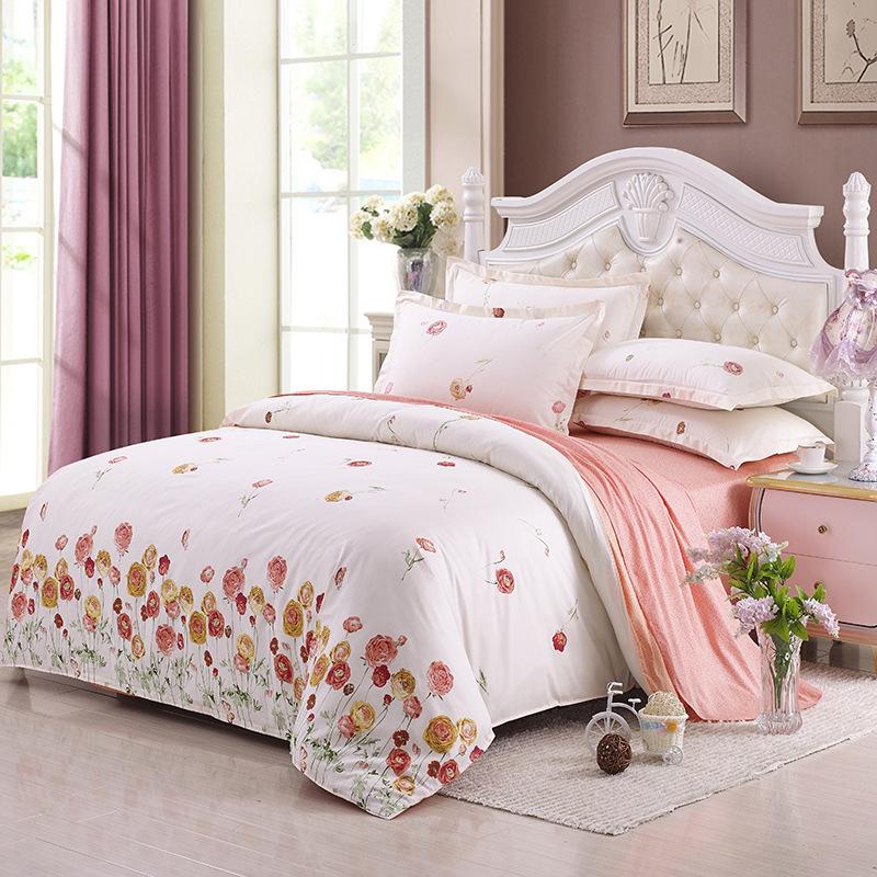 100 cotton pastoral style floral quilt duvet cover set. Black Bedroom Furniture Sets. Home Design Ideas