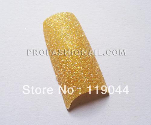 Free Shipping 100PCS/Set Gold Glitter Fake Nail Tips False Matte Nail Art Pre Design Manicur NA816O(China (Mainland))