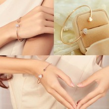Women Trendy Jewelry Double Peach Heart Love Gold Plated Crystal Opening Bracelet Gift Drop Shipping BL-0074(China (Mainland))