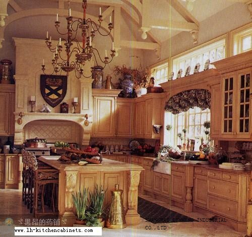 Solid wood rustic kitchen cabinets (LH-SW023)(China (Mainland))