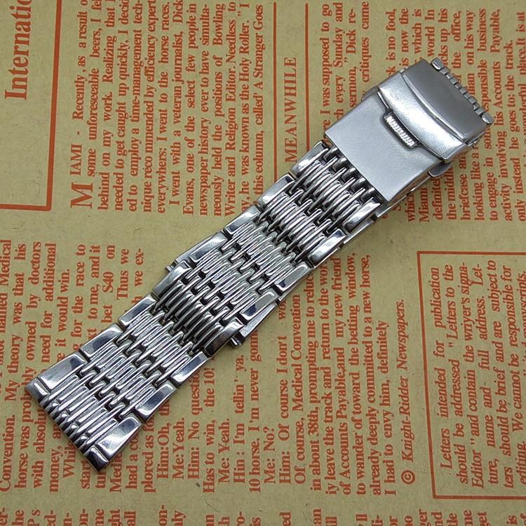 Новое поступление полированный 20 мм серебро нержавеющая сталь ремешок сетки стиль ремешка замена наручные часы группа бесплатная доставка