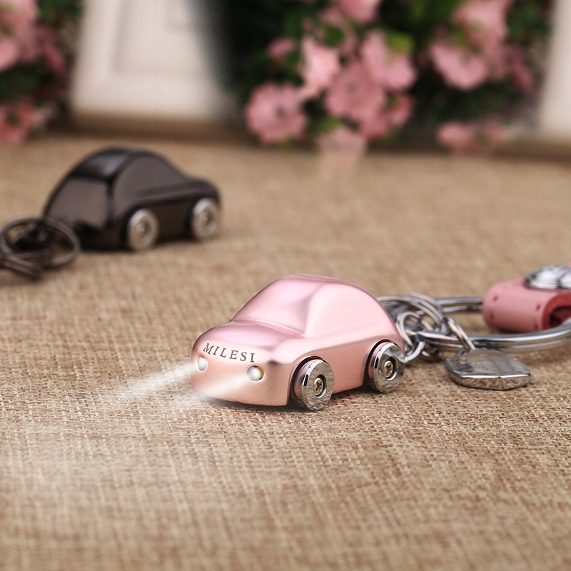 MILESI Couple Metal Car Shape Key chain LED Light Keychain Lover Housekeeper Key Holder Zinc Alloy Keyring Charm pendant K0196(China (Mainland))
