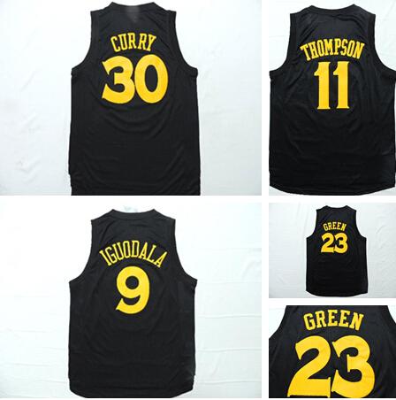 #11 Klay Thompson Jersey 9 Andre Iguodala 23 Draymond Green 2015 New Golden State #30 Stephen Curry Black Chase Fashion Jersey(China (Mainland))