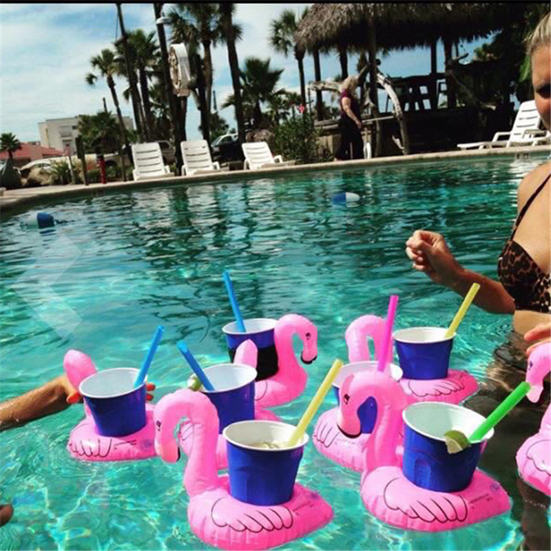 Mini Flamingo Inflatable Water Floating Cell Phone Drink Can Coke Cup Holder Stand Station