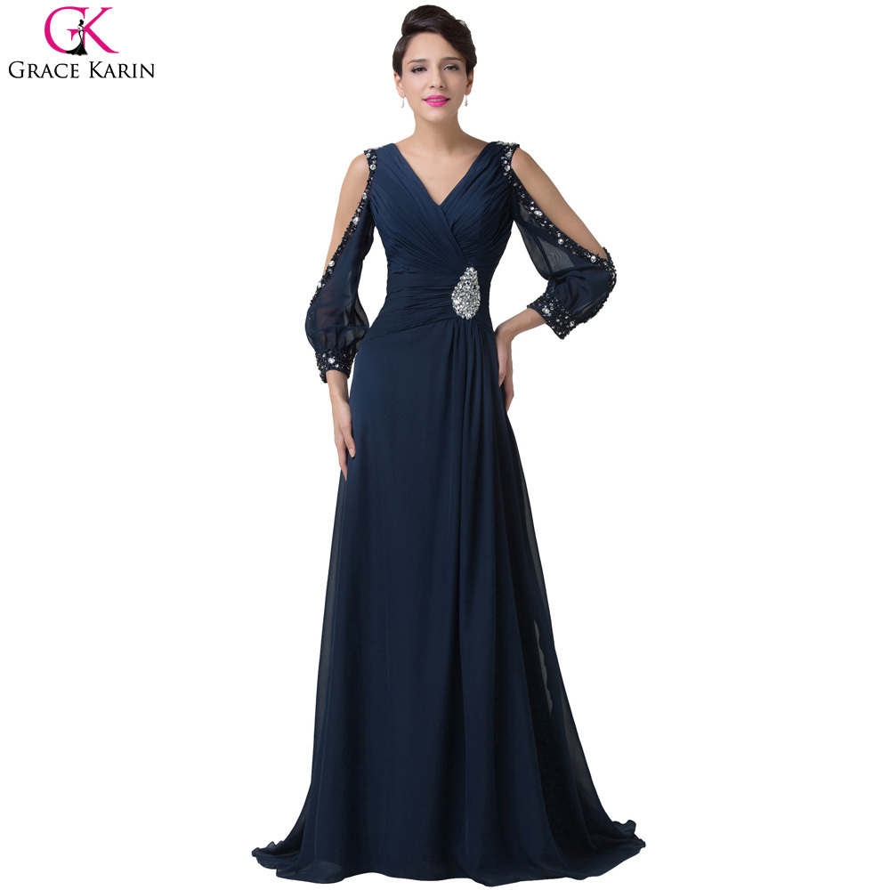 Elegant Long Sleeve Evening Dresses 2016 Grace Karin Robes De Soiree Longue Beaded Chiffon Navy Blue Mermaid Dress Formal Gowns - Flagship Store store