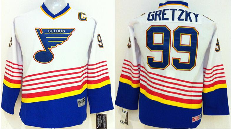 Kids St. Louis Blues Jerseys Free Shipping Ice Hockey Jerseys #99 Wayne Gretzky White CCM Vintage J0396<br><br>Aliexpress