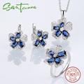 Sterling Silver Flower Jewelry Set Blue Crystal Flower Women Wedding Jewelry Set Cubic Zirconia 925 Sterling