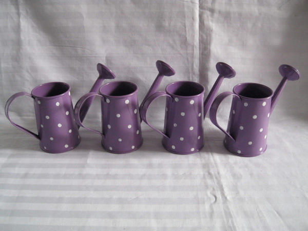 Violet Metal Favor Pail Mini Small Watering Can Dot Design