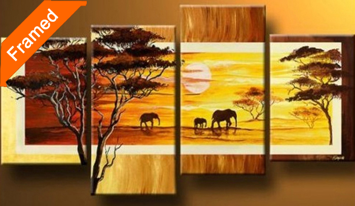 Four pcs framed oil painting (Sunset On the African savannah) gallery wrapped ready to hang modern canvas picture for wall(China (Mainland))