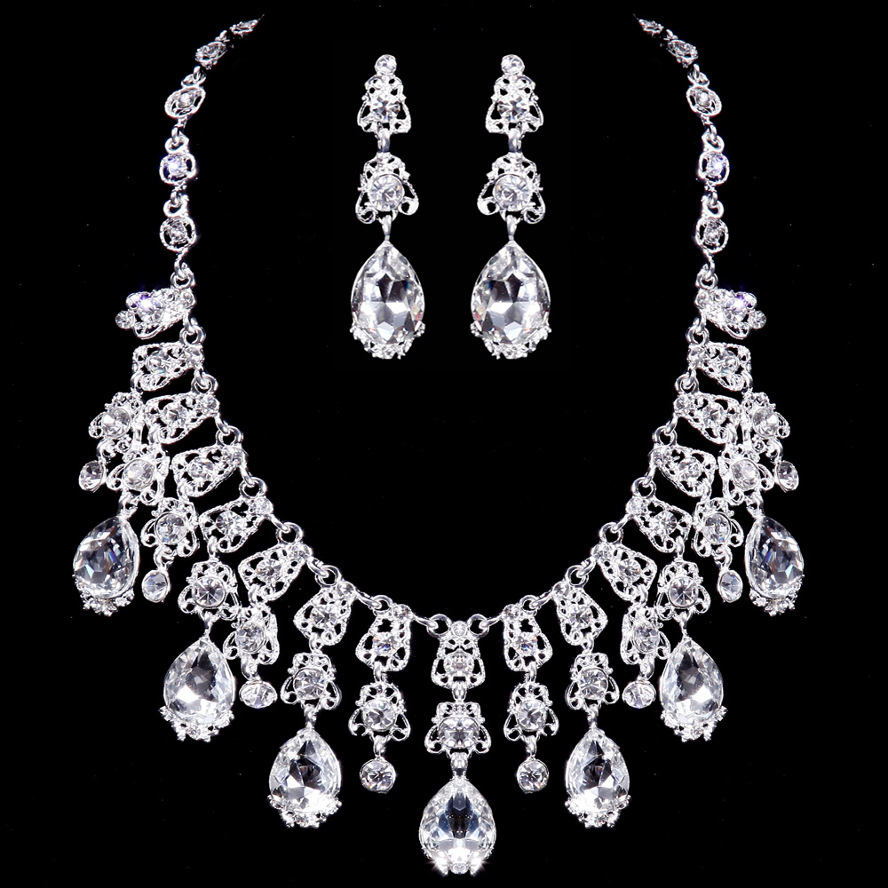 necklace earrings tiara three piece jewelry sets luxury