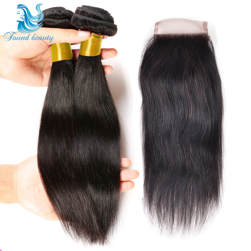 Peruvian Virgin Hair With Closure 2pcs Peruvian Virgin Straight Hair Wirh Lace Closure 7A Unprocessed Human Hair With Closure