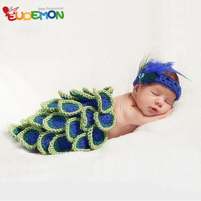 [Eudemon] 2016 Fashion Baby Costume Peacock Knitting Disfraces Newborn Photography Props for Infant Photography Accessories(China (Mainland))