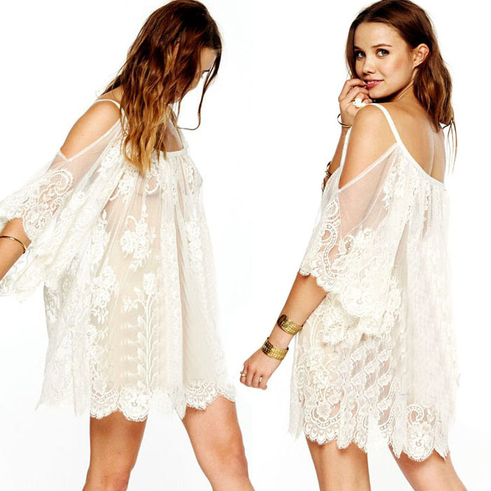 Gofuly 2015 Excellent Vintage Style Hippie Boho People Embroidered Floral Lace Crochet Mini Dress New Design(China (Mainland))