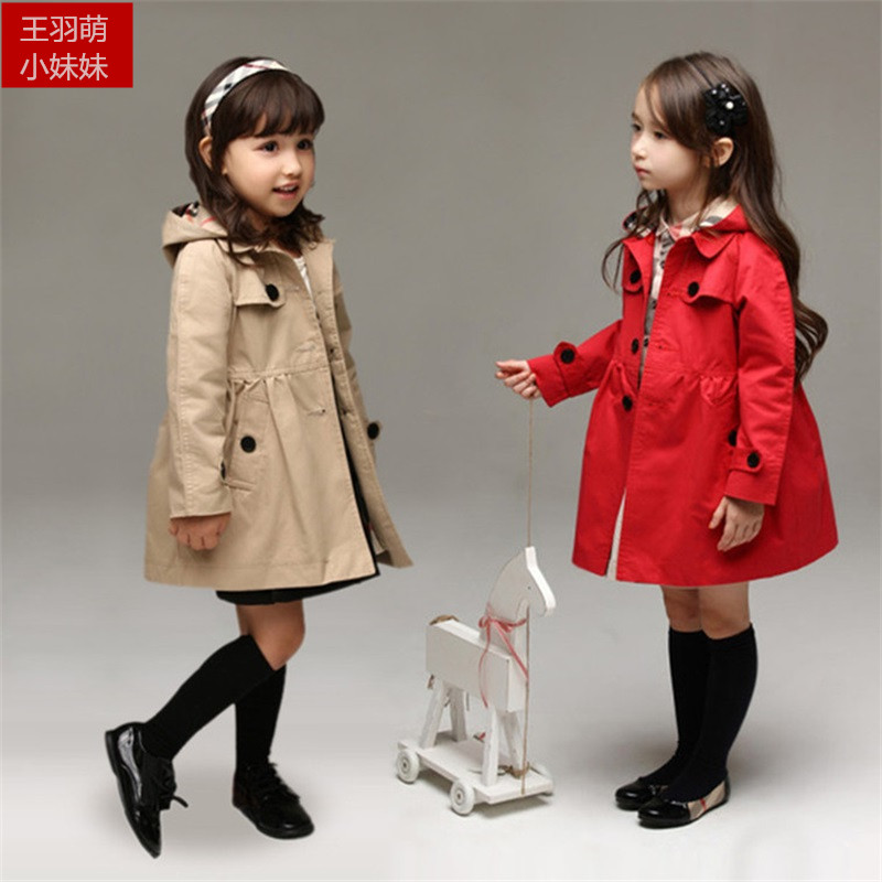 girls trench coat children coat 2016 autumn spring Hoodies Long outwear kids jackets Plaid casual style red/khaki winter jackets(China (Mainland))
