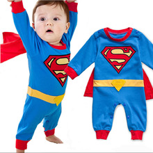 2016 Summer Newborn Baby Costume Baby Rompers Superhero Superman Cotton Baby Boy Girl Rompers Newborn Baby Clothes