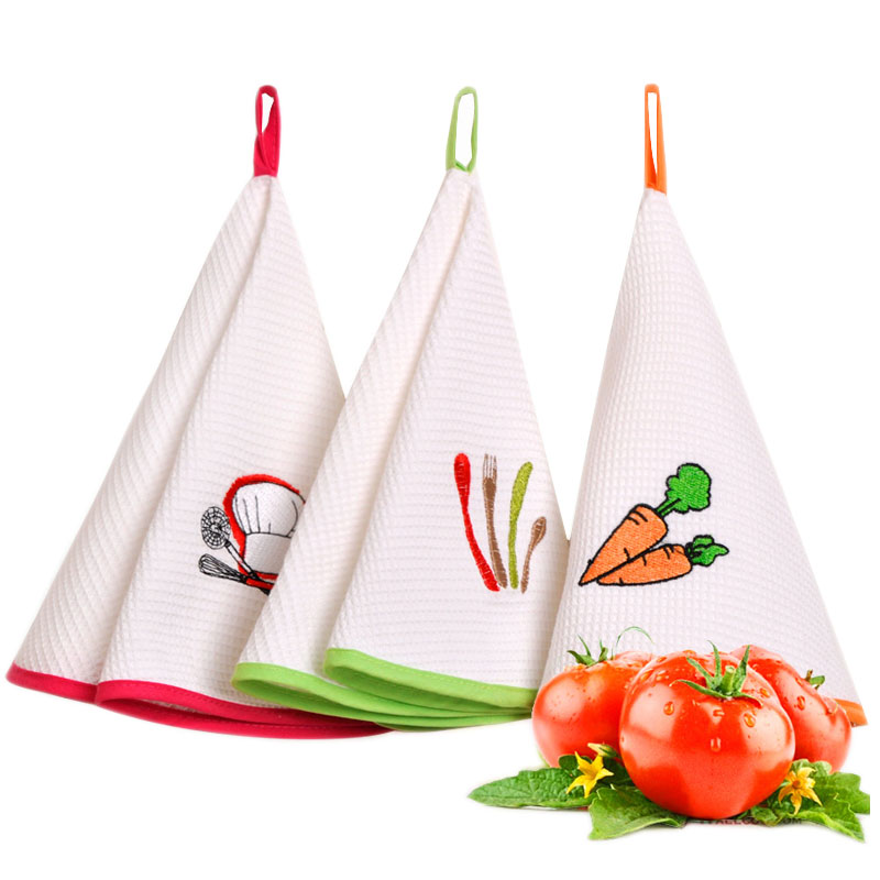 New 2017 Kitchen Towel Promotion 1PC/Lot 100% Cotton Hand Towel Embroidered Face Cloths For Kitchen Bathroom Office Car Use(China (Mainland))