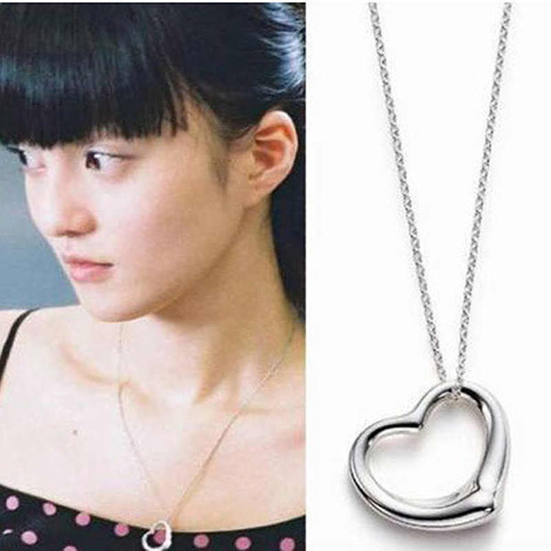 xs015 Heart Pendants Necklaces Women Silver Plated Fashion Jewelry Simply LOVE Collares Bijoux Minimalist Necklace - BILL JEWELRY CO,.LTD Min order $8 store