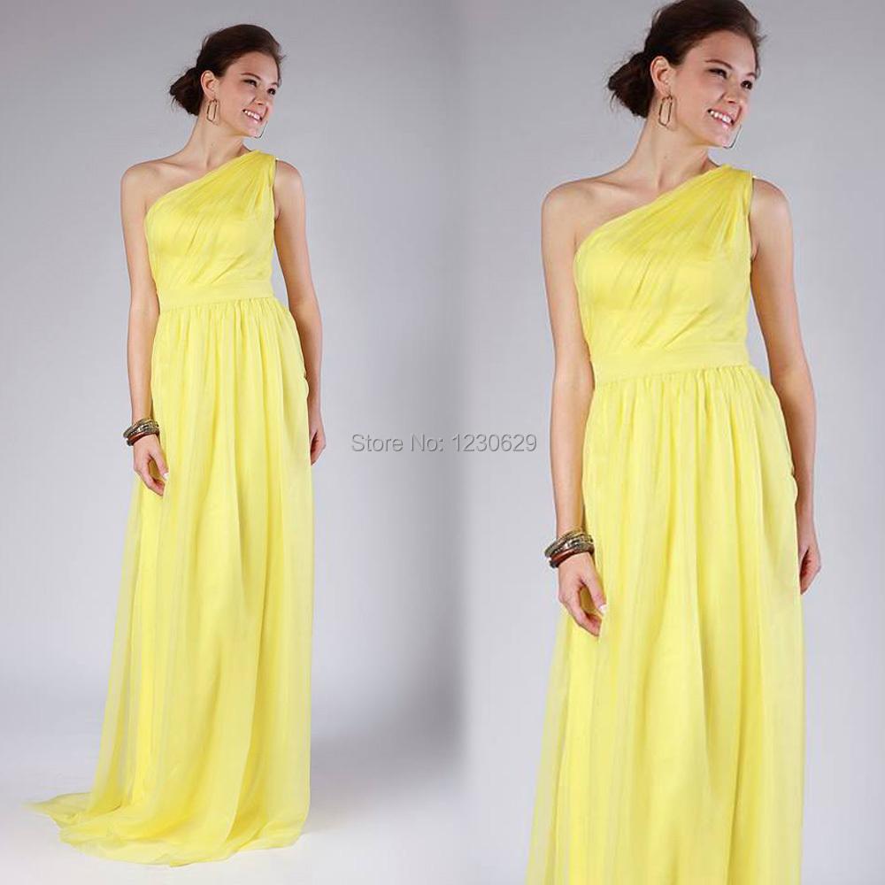 Elegant one shoulder sleeveless ruched long yellow beach for One shoulder beach wedding dress