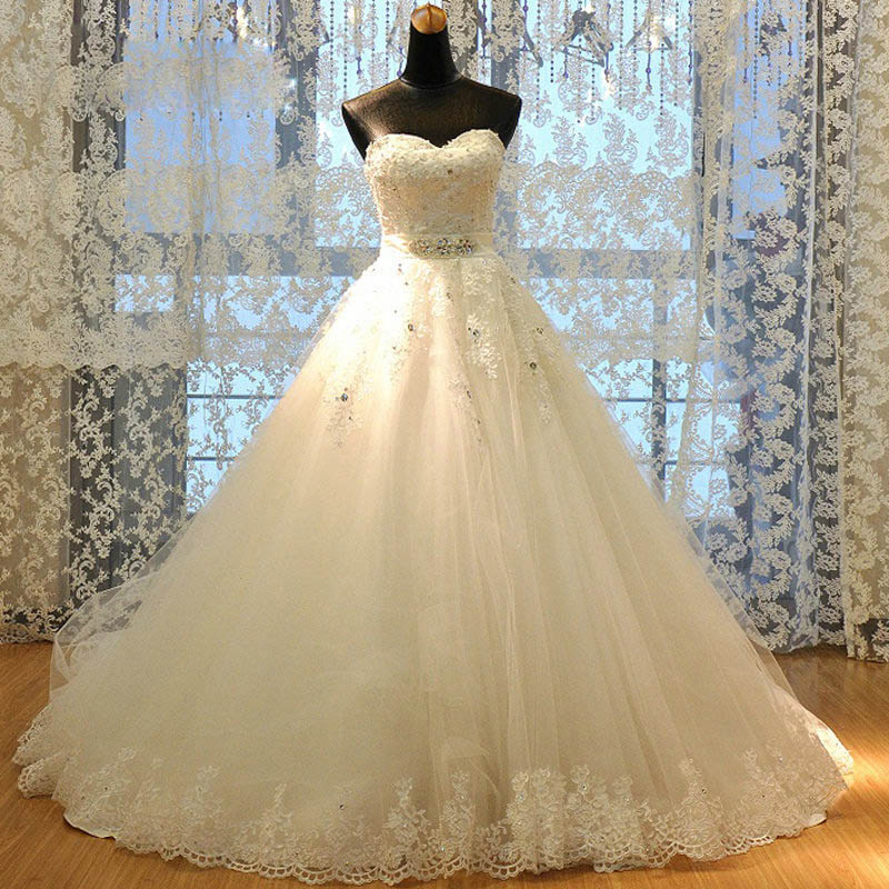 Luxury Diamond Wedding Dresses 2016 Ball Gown Sweetheart