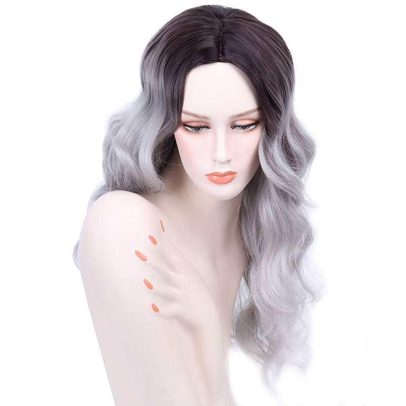 26 Inch Synthetic Wigs Heat Resistant Fashion Gradient Grey Wig Cheap Natural Hair Wigs Long Curly Synthetic Wig For Women(China (Mainland))