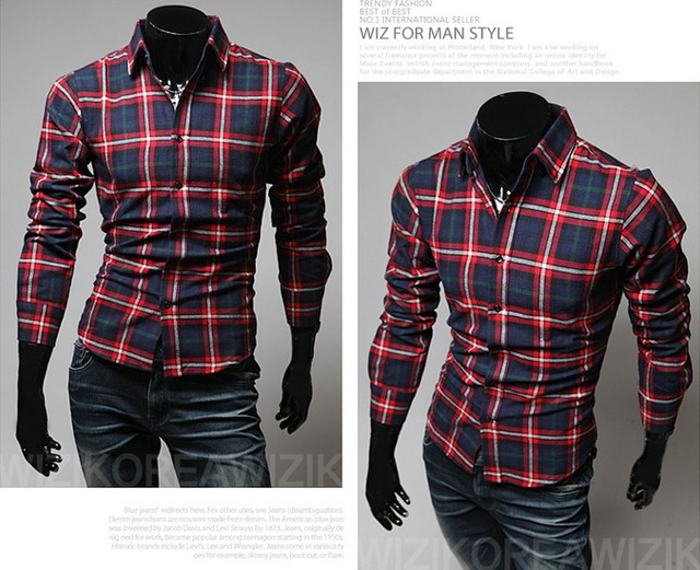 Big discounts! 2013 men fashion high quality men's Slim shirt Plaid Shirt 16 colors XXL Free Shipping