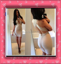 Free Shipping 2015 Hot&Sexy Deep V Neck Cross Back Womens Short Cocktail Party Club HL Nude Bodycon Bandage Dresses High Quality(China (Mainland))