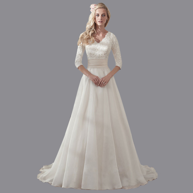 Cheap A Line V Neck Beaded Vestido De Novia Vintage 2016 Organza White Ivory Wedding Dress