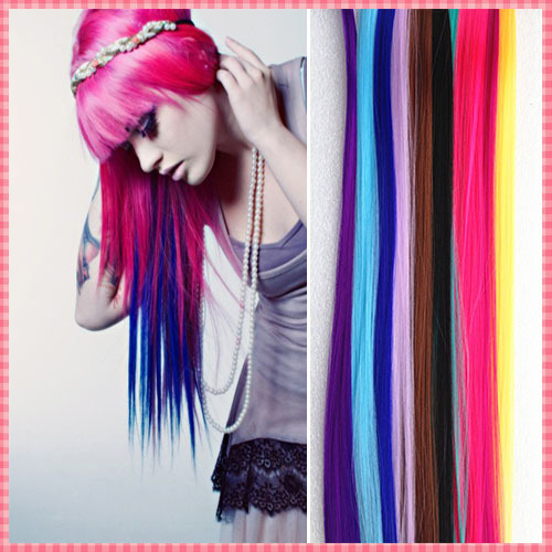 Fashion hair extension for women Long Synthetic Clip In Extensions Straight Hairpiece Party Highlights Punk hair pieces #JO006(China (Mainland))