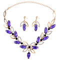 2015 Fashion Gold Purple Korean Flowers Crystal Necklace Earrings Jewelry Set