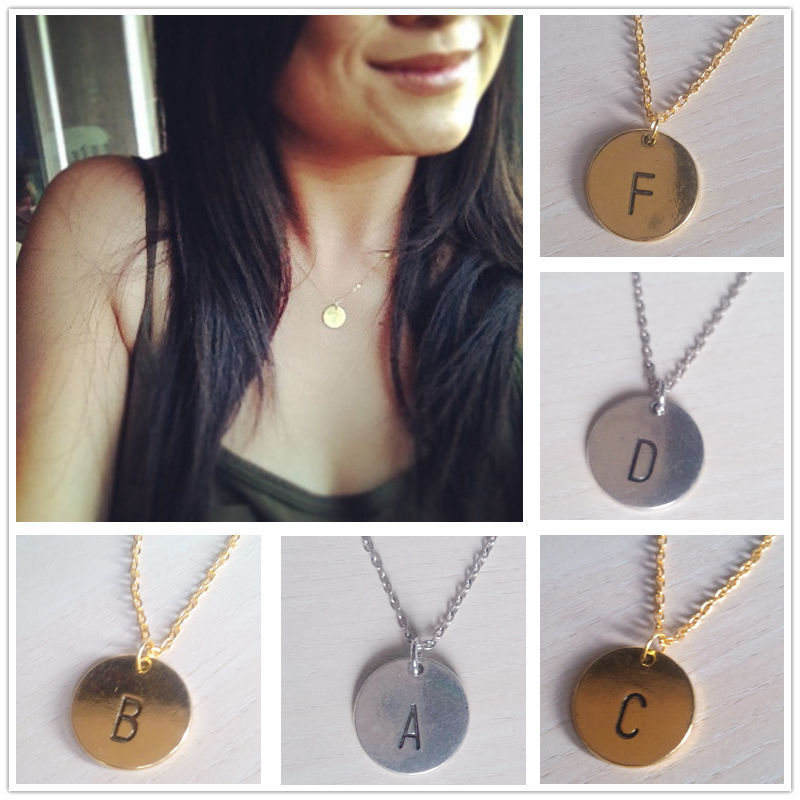 YP1154-1  Fashion  Round  Letter  Necklace   Simple  and  Elegant  Gold   Alloy  jewelry  for  unisex(China (Mainland))