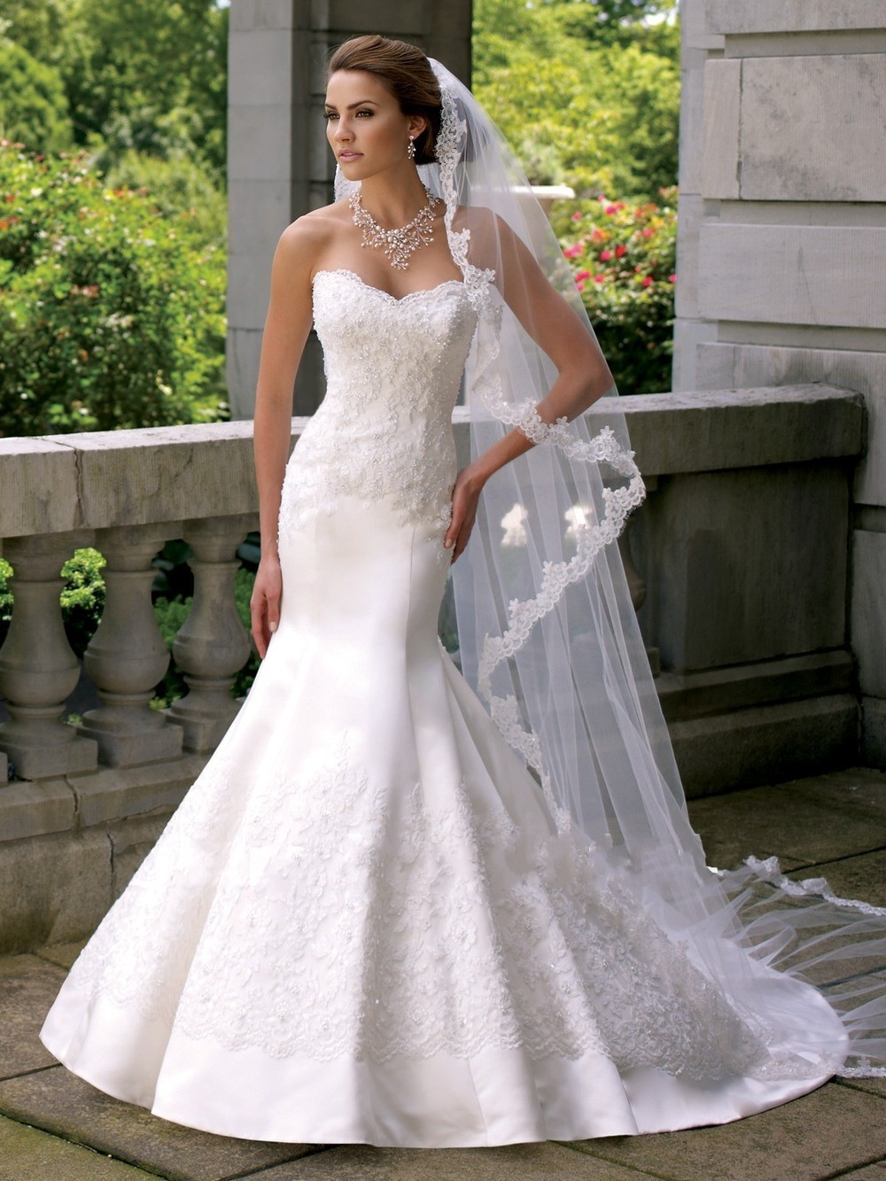 Sweetheart white mermaid wedding dresses satin bridal for Satin mermaid style wedding dresses