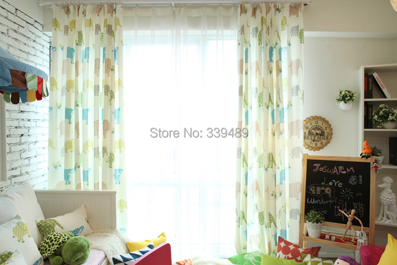 Childlike Cute Korean Fabric Curtains Bedroom Curtains