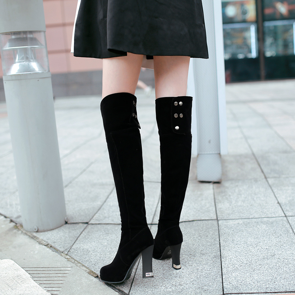 Shoes woman New Fashion Sexy Boots women  knee high boots High Heels Leisure  Winter Autumn Leather boots