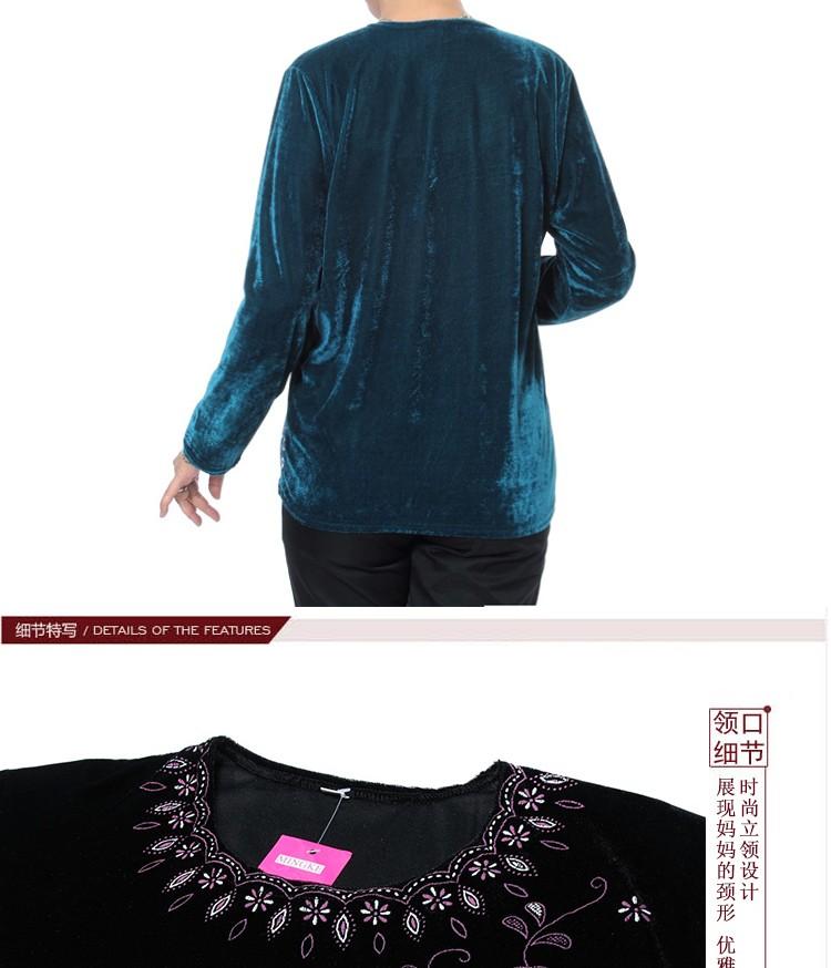Autumn Quinquagenarian Velvet Blouses Flannel Tops Middle age Women\'s Red Blue Black Purple Blouse Flower Pattern Clothings Mom dddd