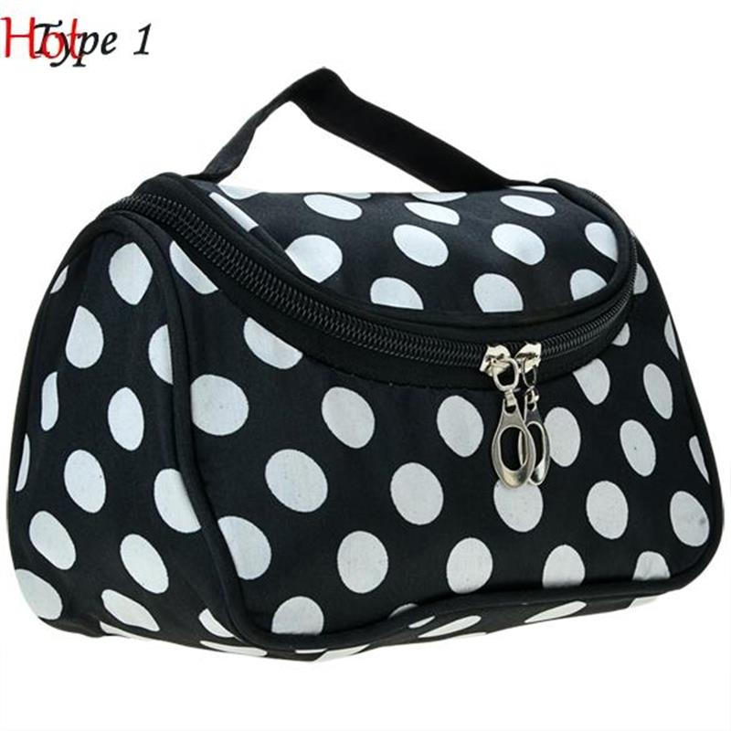 Side Zipper Cosmetic Bag Dots Stripes Printed Make Up Tool Bag Multi-Function Storage Travel Makeup Bag Rose Pink Black SV012834(China (Mainland))