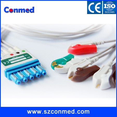 High quality Compatible M1968A 5 leads ECG Leadwires Set Cable for Philips,Patient Monitor ECG cable AHA CLIP(China (Mainland))