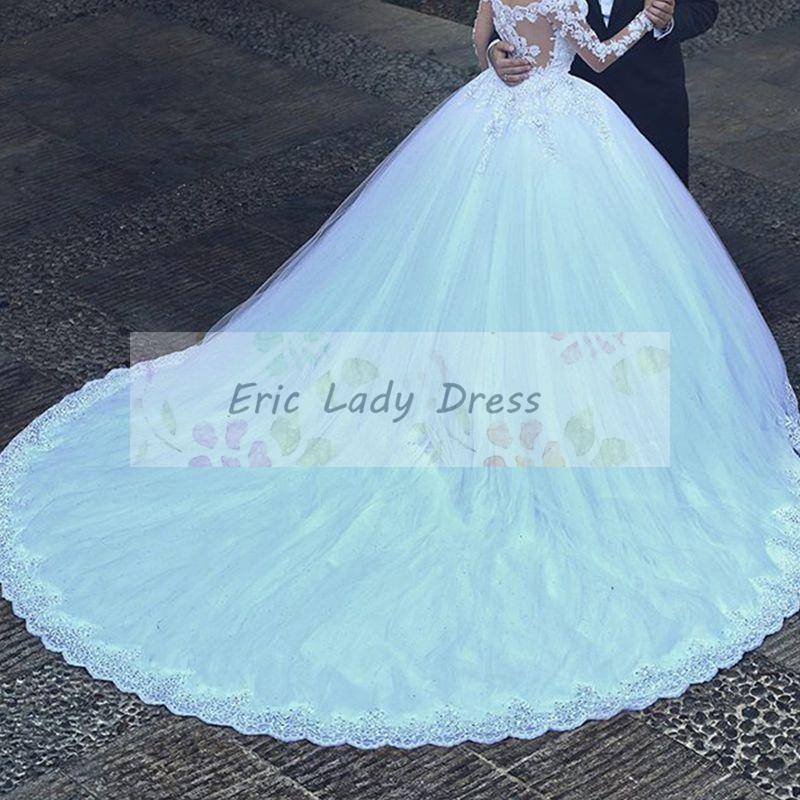 Ball Gown Wedding Dresses Long Trains : Aliexpress buy long sleeve wedding dress v neck