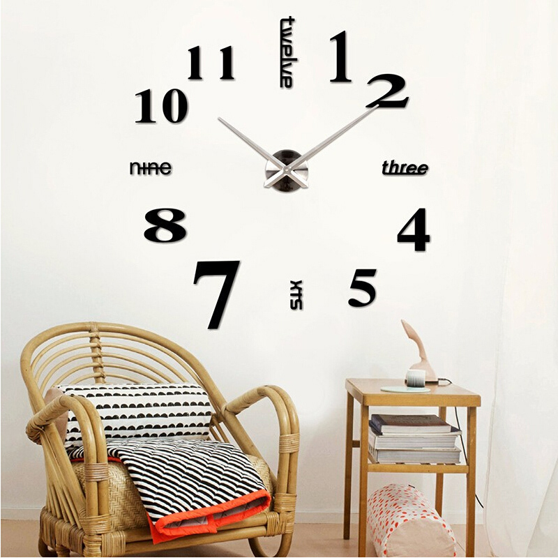 2015 new arrival quartz diy modern clocks needle acrylic watches big wall clock mirror sticker living room decor free shipping(China (Mainland))