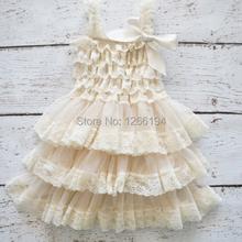 Детское платье Высокое качество девочка цветок кружева платье слоновой кости кружева с оборками слоистых ну вечеринку для празднования дня рождения бесплатная доставка