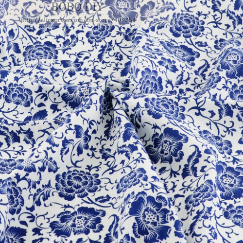 1 meter blue white Printed cotton poplin fabric dress clothing garment fashion cloth quilting patchwork sewing Material - BOBO DIY store