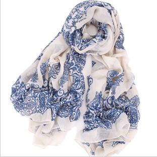 Fashion style blue and white porcelain fluid Fashion scarf autumn and beach scarf summer cape