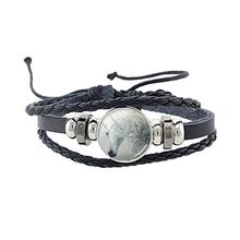 JWEIJIAO High Quality Black Punk Leather Rope Bangles Animal Horse Charm Bracelets Male Female Jewelry 1pcs Drop shipping B112(China)