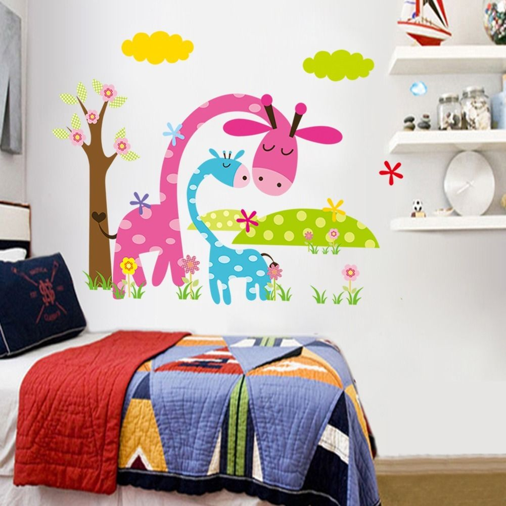 Colorful Decorative Jungle Animals Elephant Zebra Giraffe Art Vinyl Decal Wall Sticker Nursery