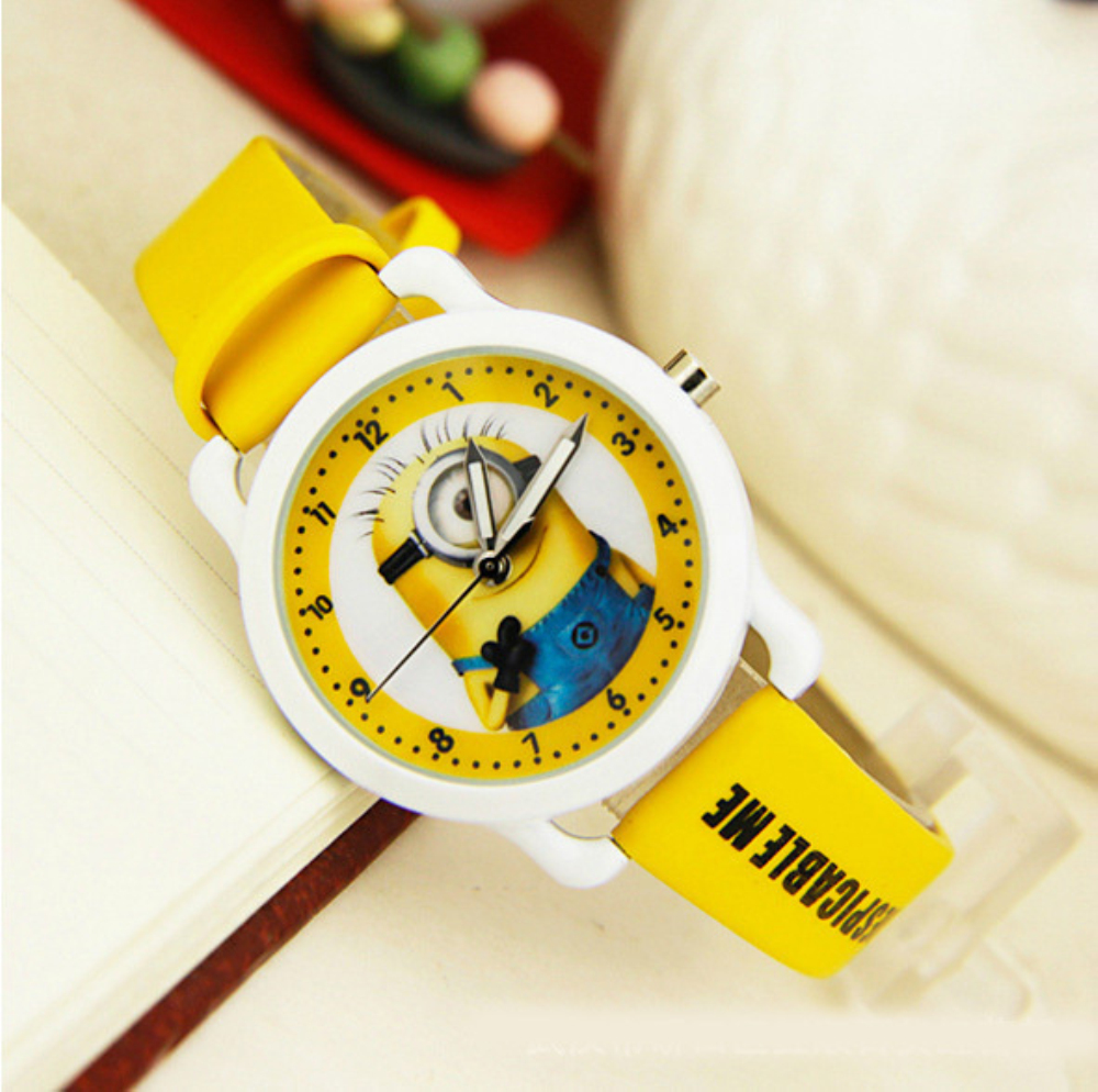 New precious milk dad children faux leather watches despicable me minions cartoon watch kids for Despicable watches