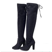 Kadın çizme Faux süet kadın diz botları Lace Up seksi yüksek topuklu ayakkabılar kadın kadın ince uyluk yüksek çizmeler Botas 35-43(China)