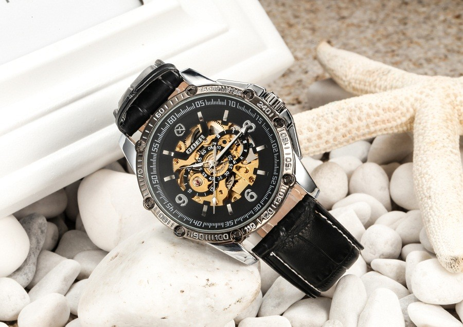 ГРУ бренд мужские механические наручные часы автоматический Световой Скелет мужской Цифровые часы кожа Моды водонепроницаемый