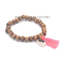colorful Tassel wooden beads bracelets & bangles with natural shell accessories for women sea beach Bohemia(China)
